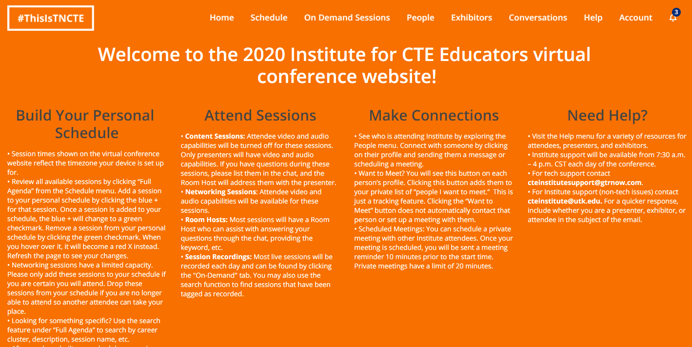 institute for CTE Educators 2020 Virtual Event